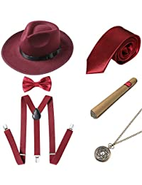 BABEYOND 1920s Mens Gatsby Gangster Costume Accessories Set Panama Hat Suspender (Style2-Winered)