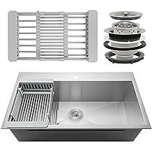 """Perfetto Kitchen and Bath 30"""" x 18"""" x 9"""" 18 Gauge Stainless Steel Topmount Kitchen Sink w/ Strainer & Adjustable Dish Tray"""