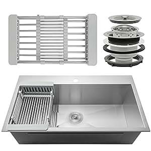 "Firebird 33"" x 22"" x 9"" Single Bowl 18 Gauge Handmade Stainless Steel Topmount Drop-In Kitchen Sink w/ Adjustable Dish Tray & Drain"