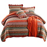 AMWAN Boho Style Cotton Floral Quilt Set Queen Flower Print Patchwork Striped Quilt Coverlet Set Full Vintage Luxury Bedspread Set with 2 Pillow Shams