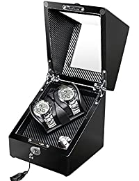 Double Automatic Watch Winder Storage in Black Wood Shell with LED Light, Quiet Japanese Motor