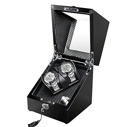 OLYMBROS Double Automatic Watch Winder Storage in Black Wood Shell with LED Light, Quiet Japanese Motor