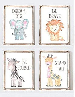 Safari Nursery Decor Wall Art Print Set of 4 Nursery Art Set Baby Animal Paintings Jungle