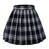 Tremour Girls School Uniforms Solid Summer Skirts Pleated Mini Skirt(XL,Black White)