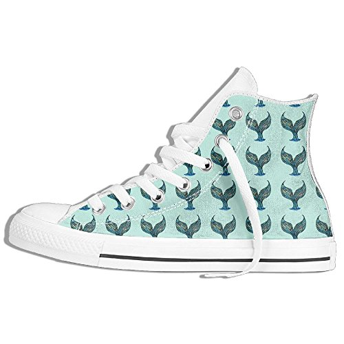 Rubber Mermaid Tails (Mermaid Tail Casual Comfort Zipper Lace Up High Top Canvas Shoes 38)