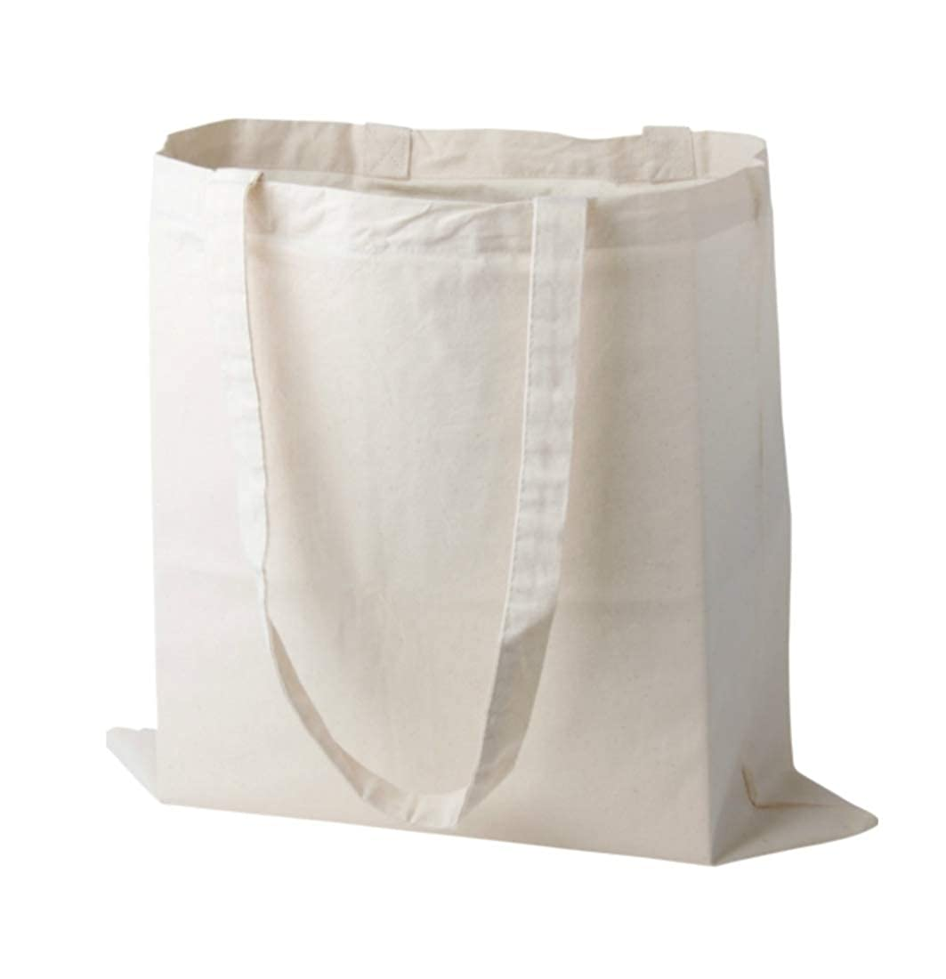 Pack of 10 Plain Natural Cotton Shopping Tote Bags Eco Friendly Shoppers