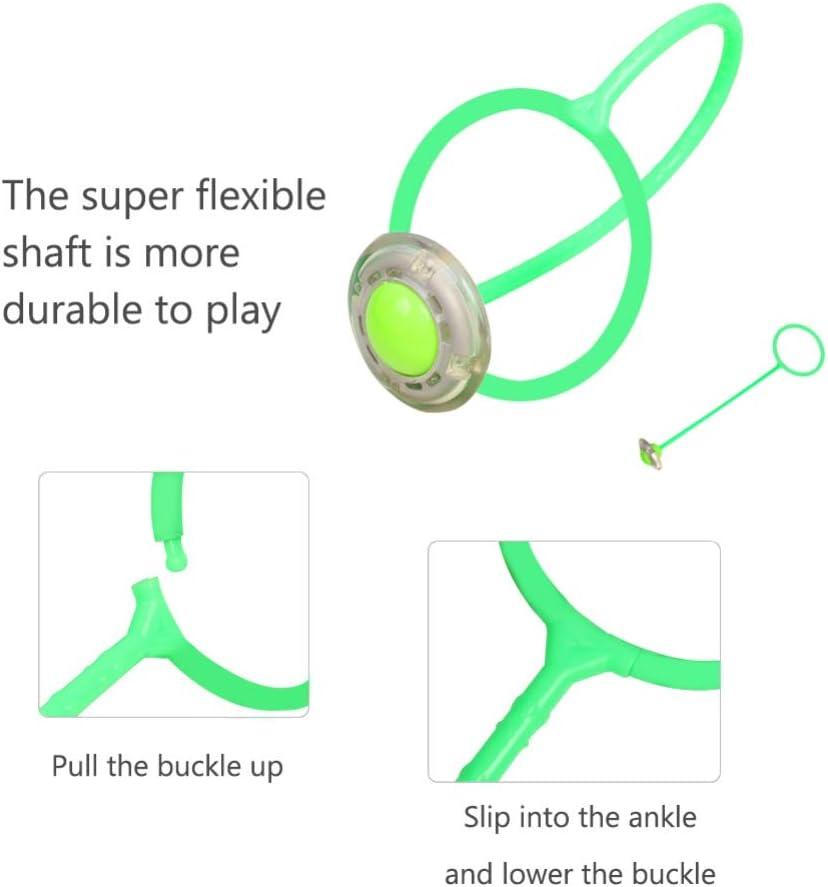 PowerBH Ni/ños Adulto Bola de saltos en flash Estiramiento Shuttlecock Pies de una pierna Anillos de salto giratorios Bolas de baile Hyun Baile de colores Juguete de ejercicios