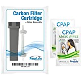 RespLabs Generic Cartridge Carbon Filter Kit and Check Valve Assembly - Includes 2 Travel CPAP Wipes [1 Pack]
