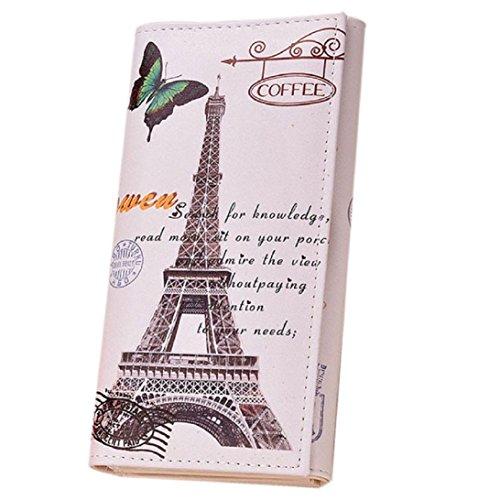 Sunward Fashion Classic Women Lady Girls Long Wallet Pu Leather Paris Eiffel Tower Style Card Holders Clutch Purse Money Bag - Leather Eiffel