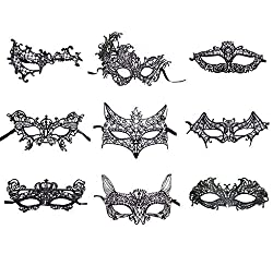 VintageBee 20 PCS Lace Masquerade Mask Venetian Eyemask Halloween Sexy Woman Lace Mask Halloween Masquerade Carnival Party Costume Ball