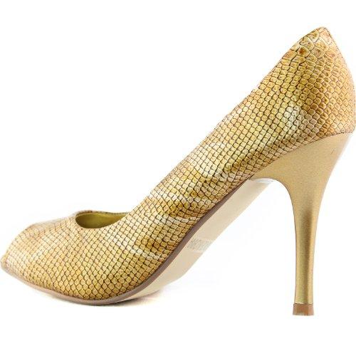 Donna Damita K Candy-05 Peep Toe Tacco Alto Pompe Moda Scarpe Oro