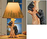 """Collections Etc Rustic Climbing Bear Family Northwoods Lamp,14 3/4"""" H"""