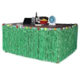 Sc0nni Hawaiian Luau Hibiscus Green & Colorful Silk Faux Flowers Table Hula Grass Skirt for Party Decoration, Events, Birthdays, Celebration, 9' x 29''