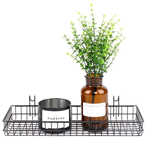 Zksanmer  Wire Metal Hanging Basket,Coated on Grid Panel For Dispaly Wall Decor, Wall Mount Organizer, Wire Storage Shelf Rack for Home Supplier,Black