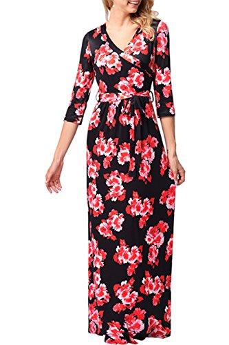 Dress V Print Dress Maxi Flower Black Beach Wrap red YMING Dress For Flower Nack Women's 1q0xaH
