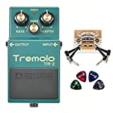 BOSS TR-2 Tremolo Pedal with Wave Control -INCLUDES- 2-Pack of Blucoil Pedal Patch Cables AND 4 Guitar Picks