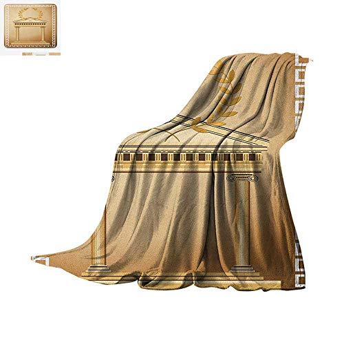 (Toga Party Throw Blanket Antique Temple with Roman Olive Branch and Greek Architecture Motif Warm Microfiber All Season Blanket for Bed or Couch 60
