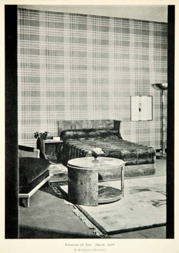 1930 Print Art Deco Etienne Kohlmann Bedroom Bed Furniture Table Interior Design - Original Halftone Print