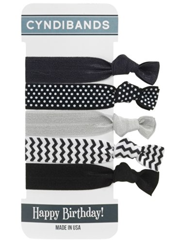 CyndiBands Elastic Hair Ties - Happy Birthday Black/White Set of 5