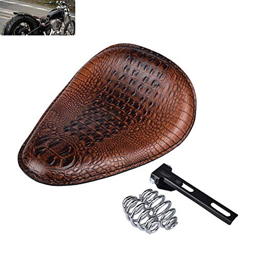KaTur Universal Motorcycle Crocodile Leather Style Saddle Solo Seat Cushion Spring for Harley/Honda/Yamaha/Kawasaki Brown