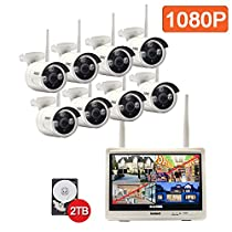 isotect Built-in 12-inch Monitor All-in-One CCTV Video Surveillance House Camera Best Wireless Security System, 8pcs 1080p HD IP Cameras with Night Vision Easy Remote Access, 2TB HDD Wifi NVR Kit