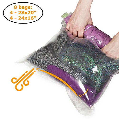 The Chestnut 8 Travel Space Saver Bags - No Vacuum or Pump Needed - Storage Bags for Clothes - Reusable Packing Sacks - Travel Luggage Compression Bags