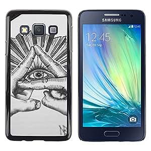 Caucho caso de Shell duro de la cubierta de accesorios de protección BY RAYDREAMMM - Samsung Galaxy A3 SM-A300 - Free Mason Sketch Pencil