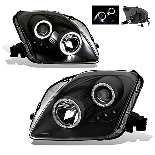 (SPPC Projector Led Headlights Halo Black Assembly Set For Honda Prelude - (Pair) Driver Left and Passenger Right Side Replacement Headlamp)