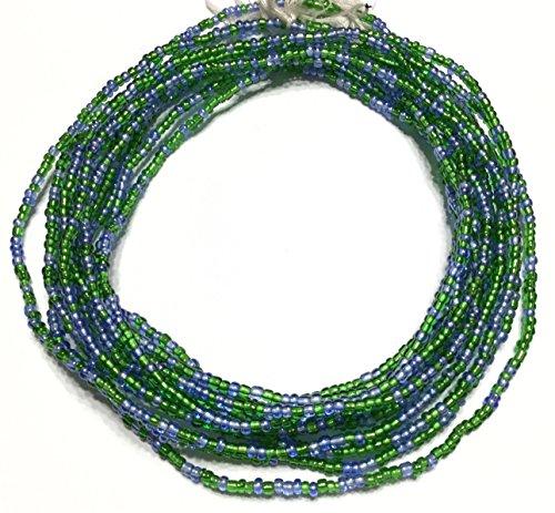 Ghana Blue and Green waist seed Beads Glass African Trade Beads - Strand of Fair Trade Beads from Ghana - Green Glass Trade Beads