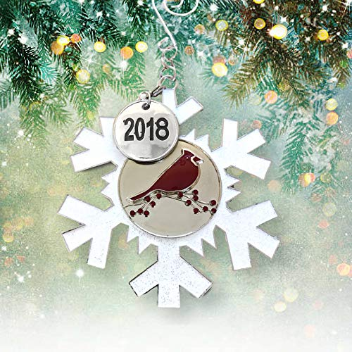 BANBERRY DESIGNS 2018 Dated Christmas Ornament - White Glittered Snowflake with Cardinal Design - Memorial Ornament by BANBERRY DESIGNS (Image #1)