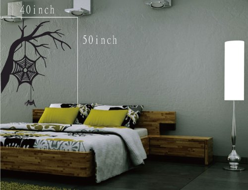 Large--Easy instant decoration wall sticker wall mural halloween home decal costumes bat howl angel black blood bone boo candy cat crown fall witch spider web prince pumpkin scarecrow ghost house (Easy Witch Costume)