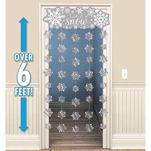 amscan Let it Snow Snowflake Doorway Curtain | Christmas -