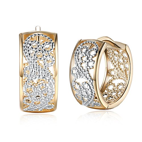 Rattana shop Women Solid 18K Gold Plated Ear Buckle Hoop Huggie Earrings Christmas Jewelry