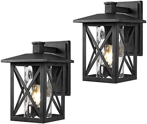 Beionxii Outdoor Wall Sconces Twin-Pack Exterior Porch Light Fixtures, Sand Textured Black with Water Rippled Glass – A330W-2PK