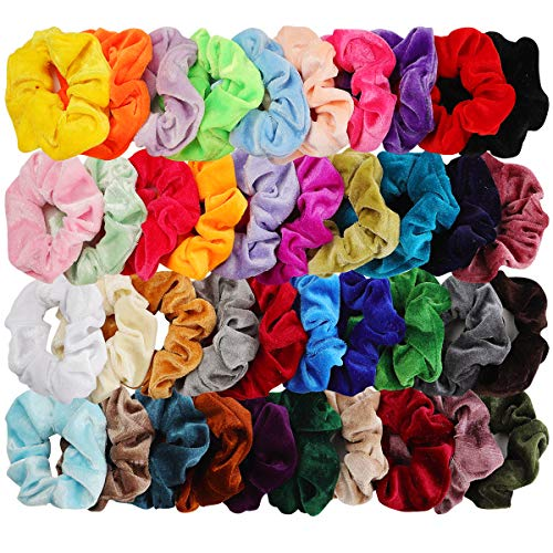 Cool Make Your Own Halloween Costumes (40pcs Hair Scrunchies Velvet Elastic Hair Bands Scrunchy Hair Ties Ropes 40 Pack Scrunchies for Women or Girls Hair Accessories, 40 Assorted Colors)