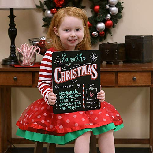 "Christmas Wish List Sign, Plastic Board with Chalkboard Surface. Customizable Photo Prop, Great for Kids-Use with Chalk or Liquid Chalk Markers (Not Included)-Easy Clean, Lightweight, Durable 12""x10"""