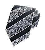 Secdtie Men's Narrow Stripe Pattern Tie Black Silver White Fashion Necktie YUF10