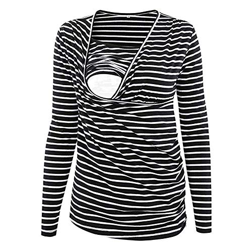 Winsummer Women's Nursing & Maternity Ruched Side-Shirred Striped Tops Long Sleeve Pregnant Breastfeeding Tee Shirt