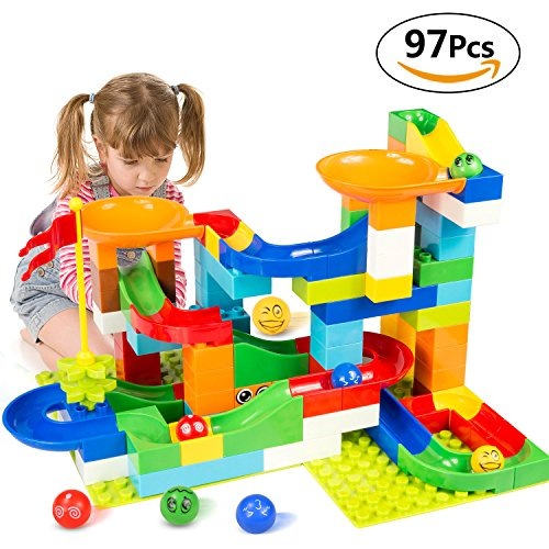 BATTOP Marble Run Building Blocks Construction Toys Set Puzzle Race Track for Kids-97 (Ball Race Set)