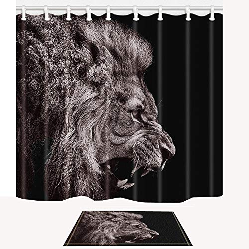 ChuaMi Black Shower Curtain Safari Set, Huge African Forest Animal Lion Head, Waterproof Bathroom Decor Polyester Fabric 69 x 70 Inches with Hooks and Anti-Slip 40 x 60cm Bath Mat, Pretty Cool