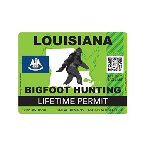 fagraphix Louisiana Bigfoot Hunting Permit Sticker Die Cut Decal Sasquatch Lifetime FA Vinyl - 4.00 Wide