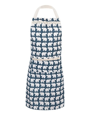 APRN-002 - Women Cooking Bear Print Teal Apron