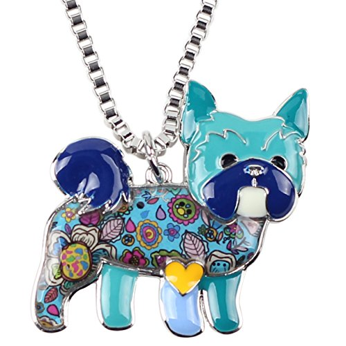 "BONSNY Love Heart Enamel ""Farley"" Yorkshire Terrier Puppy Dog Necklace for Women Girls Charm Pendant Gift (Blue)"
