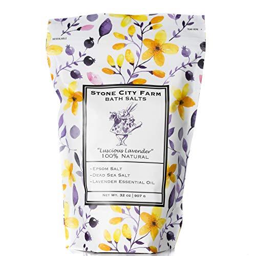 Luscious Lavender Bath Salts 2 lb. Luxury Gift Bag by Stone City Farm