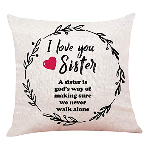 "Throw Pillow Sister (yuzi-n Sister Gift Pillow Case, Cushion Cover for Sofa Couch Decor 18""x 18""Inch)"