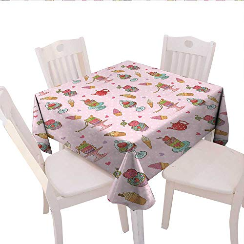 - Ice Cream Decor Customized Tablecloth Retro Cupcakes Teapots Candies Cookies on Polka Dots Vintage Kitchen Print Stain Resistant Wrinkle Tablecloth 54x54 (inch) Multicolor