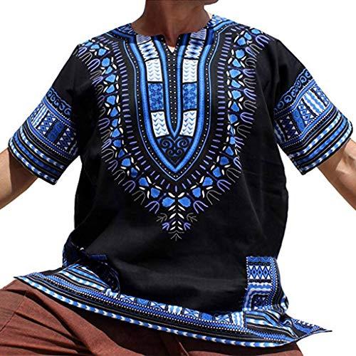 Mens Summer Vintage African Print Short Sleeve Pocket O Neck Tops Shirt Blouse -