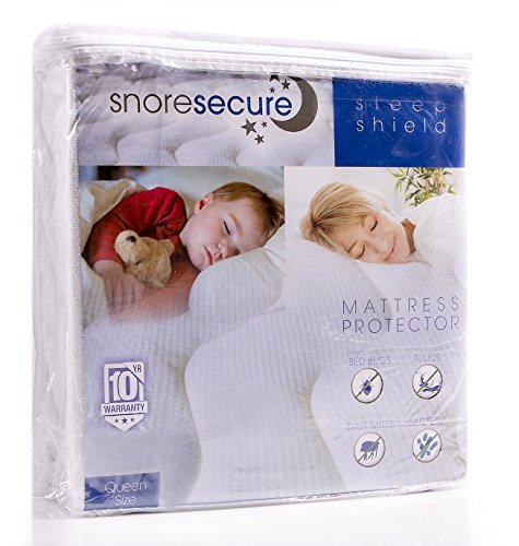 Cotton Terry Mattress Protector By Snore Secure | Fitted Style, Waterproof, Breathable, Hypoallergenic, Vinyl Free | Noiseless, No Crinkling (Queen Size) by Snore Secure