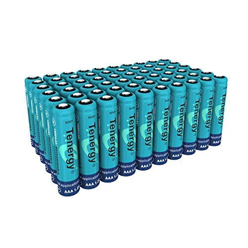 Tenergy AAA Rechargeable Battery, High Capacity 1000mAh NiMH AAA Battery, 1.2V Triple A Batteries 60-Pack ()