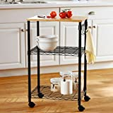 Sturdy Metal Sleek Design Wood Top Multi-Purpose Black Kitchen Cart